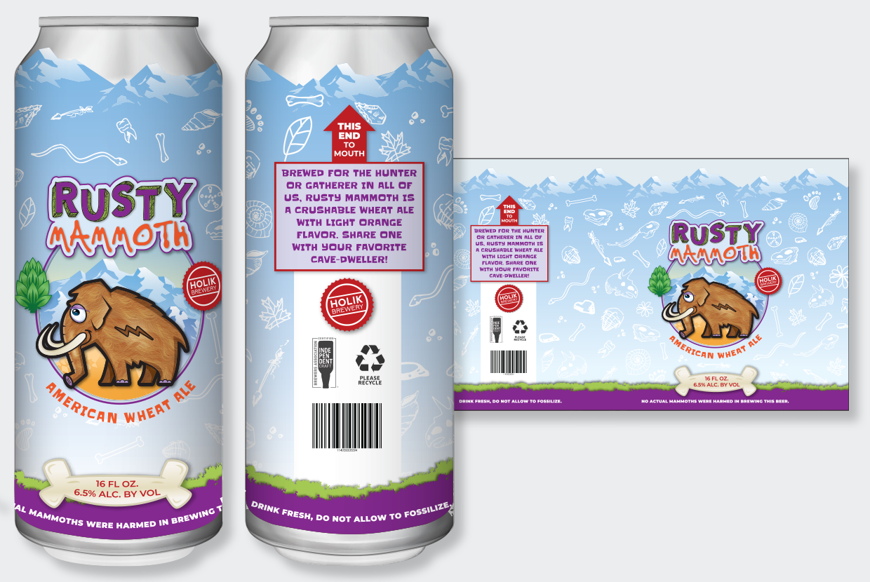 Rusty Mammoth Cartoon-Style beer can label
