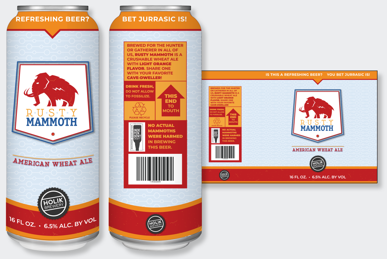 Rusty Mammoth CLEAN beer can label